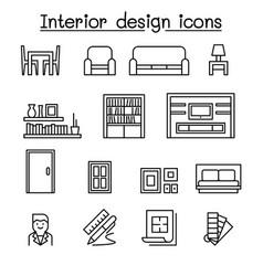 Interior design house improvement icon set vector