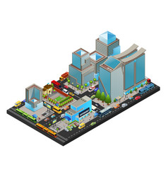 isometric modern cityscape concept vector image