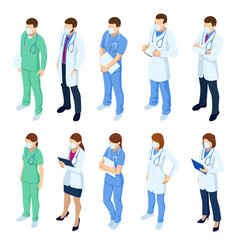 isometric set doctors and nurses characters in vector image