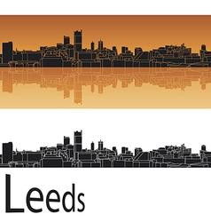 Leeds skyline in orange background vector