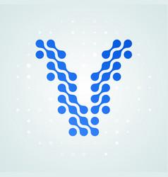 letter v logo halftone icon vector image