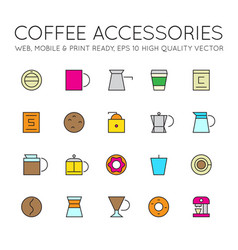 linear colored flat coffee icons set vector image