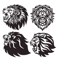lion head logo set collection premium vector image