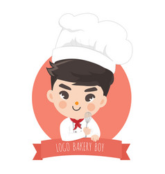 logo chef boy bekery cute vector image