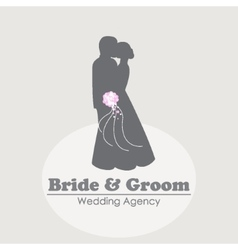 Logo with silhouettes of happy bride and groom vector