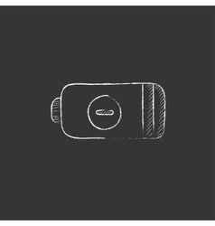 Low power battery drawn in chalk icon vector