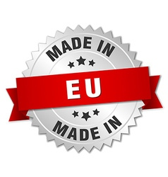 made in eu silver badge with red ribbon vector image