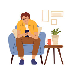 man using smartphone remote work chatting vector image