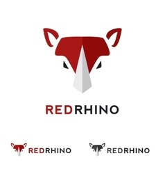Minimalistic flat animal head logotype Red vector
