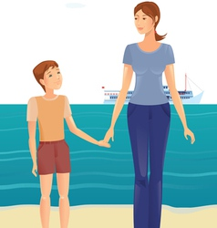 Mother and boy on the beach vector image