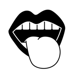 mouth tongue out vintage emblem vector image