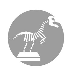 Museum dinosaur skeleton icon vector