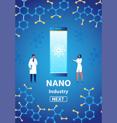 Nano industry presenting text on vertical banner vector