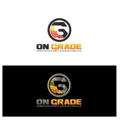 O g excavator construction logo designs simple vector