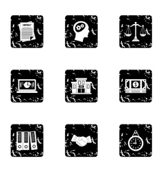 Office icons set grunge style vector
