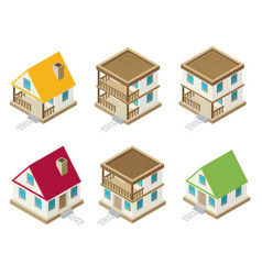 private house real estate decorative icons set 3d vector image
