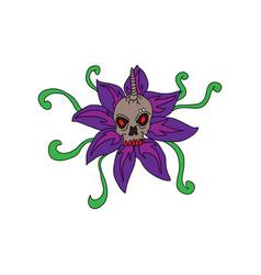 purple flowers cartoon concept vector image
