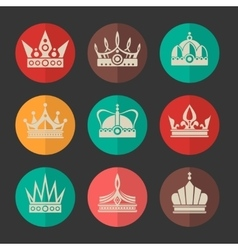 Royal crowns icons set vector