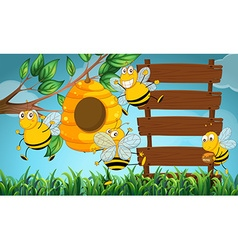 Scene with wooden boards and bee flying in garden vector image