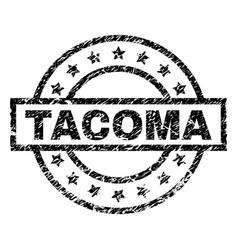 Scratched textured tacoma stamp seal vector
