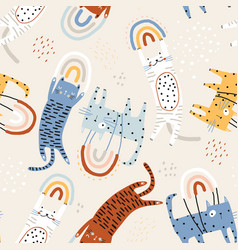 seamless childish pattern with flying on rainbows vector image