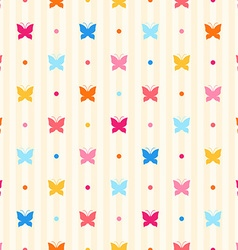 Seamless pattern Color butterflies and dots vector