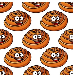 Seamless pattern of happy smiling Danish pastries vector image