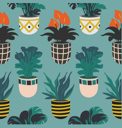seamless pattern with colorful hand drawn flower vector image