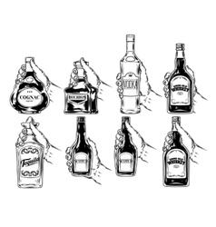 Set bottles for alcohol vector