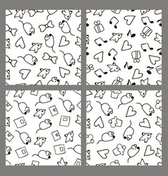 Set monochrome patterns in the style hand drawing vector