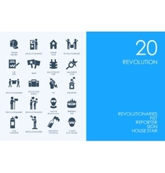 Set of BLUE HAMSTER Library revolution icons vector