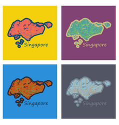 Set of flat map of singapore vector