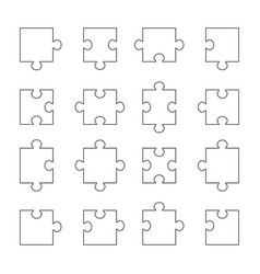 Set of puzzle parts vector