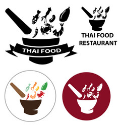 set of thai food restaurant logo vector image