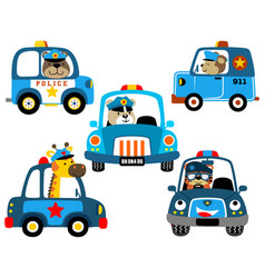 Set police cars with funny cops vector