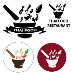 set thai food restaurant logo vector image