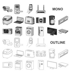 Smart home appliances monochrom icons in set vector