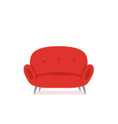 Sofa and couch red colorful cartoon vector