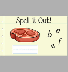 spell english word beef vector image