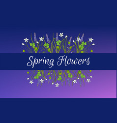 Spring card template with miscari and wood sorrel vector