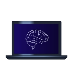 Symbol of the brain on the laptop computer vector image