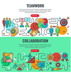 Teamwork and collaboration banners vector