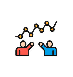 teamwork progress people with graph flat color vector image