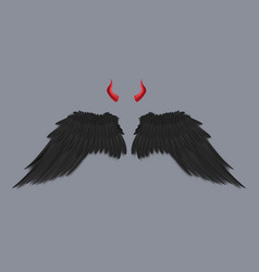 template devil black wings and horns realistic vector image