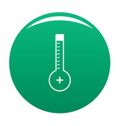 Thermometer warmly icon green vector