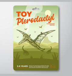 Toy dinosaur label template abstract vector