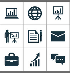 Trade icons set collection of earth contract vector