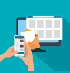 tv website technology and smartphone in the hands vector image