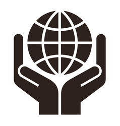 two hands holding globe symbol for save earth vector image