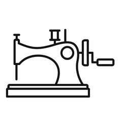 Vintage sew machine icon outline style vector